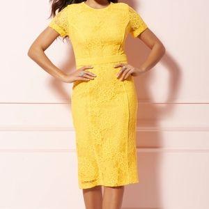 NWT Eva Mendes Yellow Lace Midi Dress